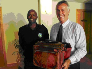 A very happy Advocate Philip Higgo of the Cape High Court with GSCID Response Officer Luwuyiso Magobane and the safely returned briefcase.
