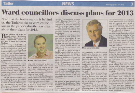 Ward councillors discuss plans for 2013 (Southern Suburbs Tatler, 17 January 2013)