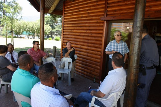 GSCID CEO, Anthony Davies, welcomes  members of  Rondebosch, Mowbray and Claremont SAPS at a year end braai function held on 28 December 2012 at the SA Breweries in Newlands.