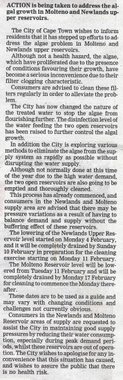 City takes action at reservoirs - Peoples post, page 6 Tuesday 12th February