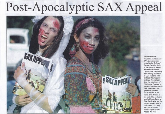 Post Apocalyptic SAX Appeal - Monday Paper, Front page 12th February