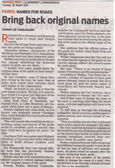 Bring back original park names  (People's Post, 25 March 2013)