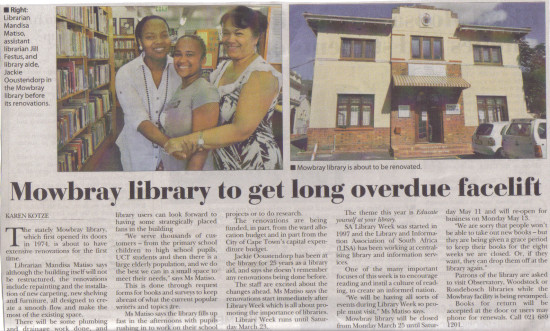 Mowbray Library to get long overdue facelift (People's Post, 21 March 2013)