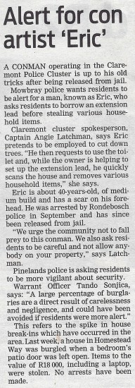 People's Post, Page 3, Tuesday 12th March 2013, Alert for con artist 'Eric'