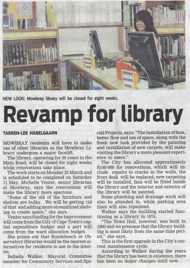 People's Post, Page 5, Tuesday 12th March 2013. Revamp for library