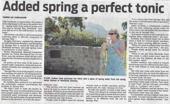 People's Post, Page 6, Tuesday 12th March 2013. Added Spring water a perfect tonic
