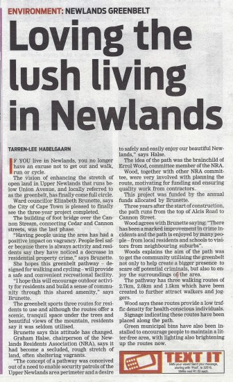 People's Post Tuesday 19 March 2013 Loving the Lush living in Newlands Front Page