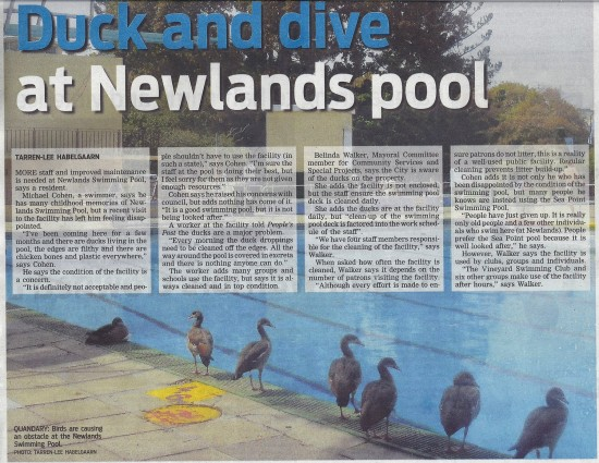 People's Post 2 April 2013 Duck and dive at Newlands pool Front cover