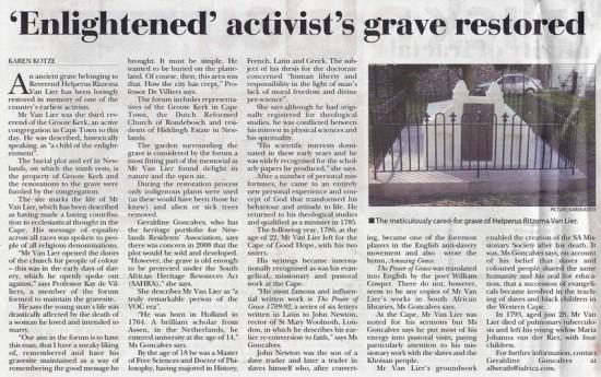 Tatler 25 April 2013 Enlightened activist's grave restored Page 10