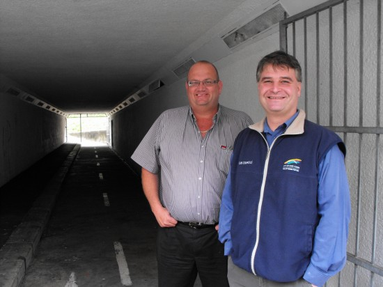 GSCID Operations Manager, Charl Brooks with Ward Councillor Matthew Kempthorne on a subway site inspection