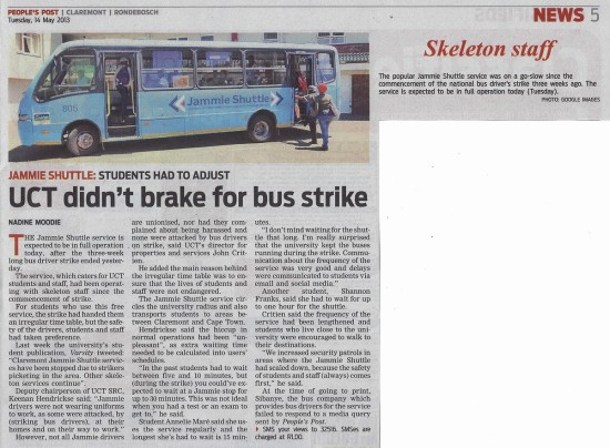 2013-05-14 People's Post, UCT didn't brake for bus strike,