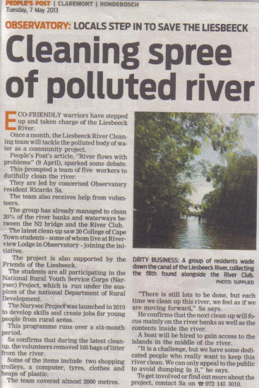 Cleaning spree of polluted river (People's Post, 7  May 2013)