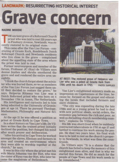Grave concern - resurrecting historical landmark (People's Post, 7 May 2013)