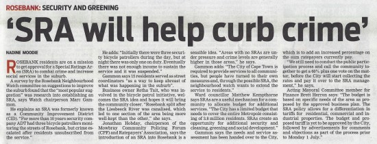 2013-06-04 People's Post, SRA will help curb crime, Front page
