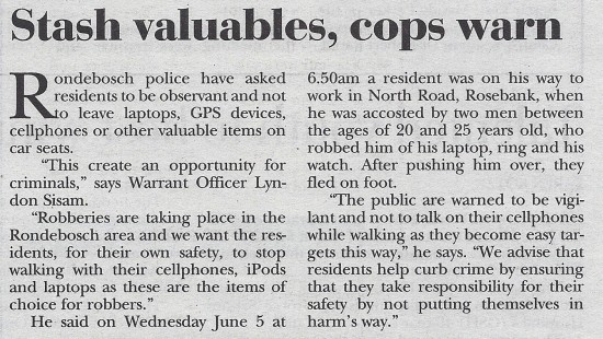 2013-06-13 Tatler, Stash valuables, cops warn, p.3
