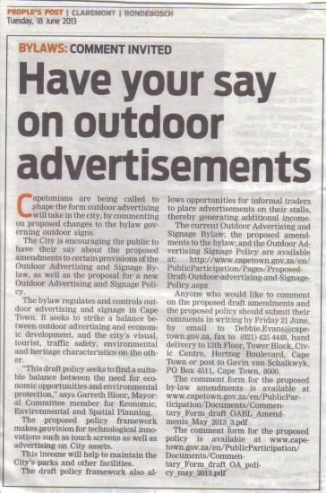 Have y our say on outdoor advertising (People's Post, 18 June 2013)