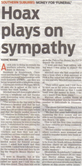 Hoax plays on sympathy ( People's Post, 18 June 2013)