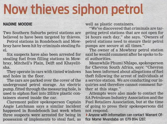 Now thieves siphon petrol (People's Post, 25 June 2013)
