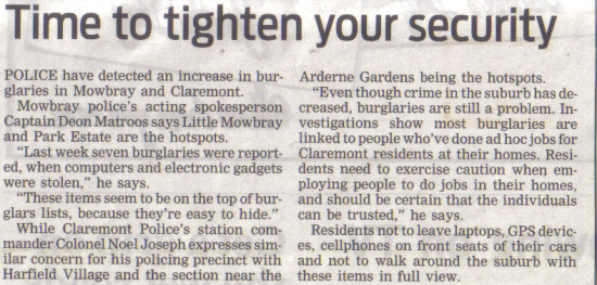 Time to tighten your security (People's Post, 11 June 2013)