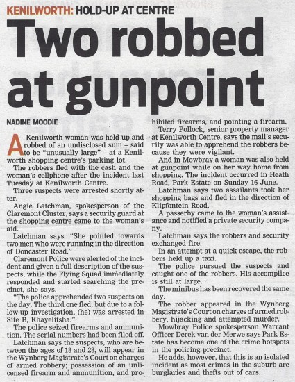 Two robbed at gunpoint (People's Post, 25 June 2013)