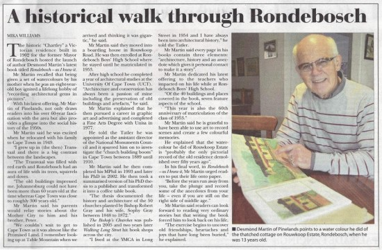 A Historical walk through Rondebosch (Tatler, 4 July 2013)