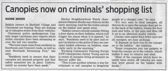 Canopies now on criminals' shopping list (People's Post, 30 July 2013)
