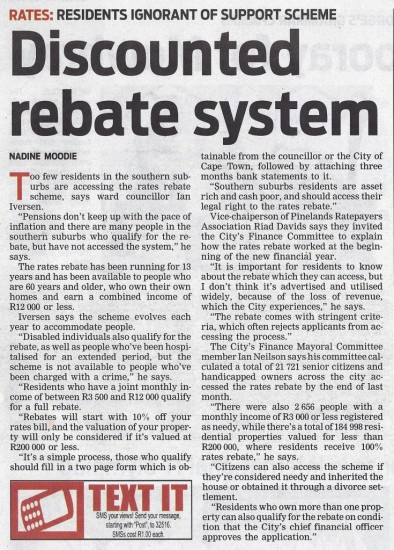 Discounted rebate system (People's Post, 20 July 2013)