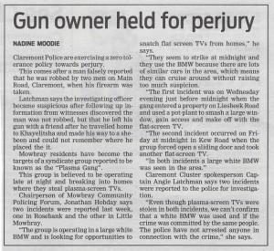 Gun owner held for perjury (People's Post, 16 July 2013)