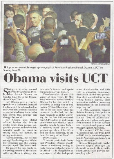 Obama visits UCT (Tatler, 4 July 2013)