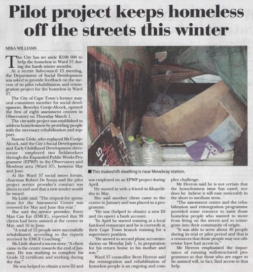 Pilot project keeps homeless off the streets this winter (Tatler, 18 July 2013)