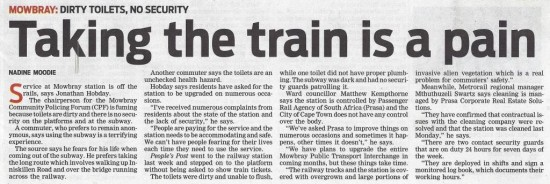 Taking the train is a pain (People's Post, 16 July 2013)