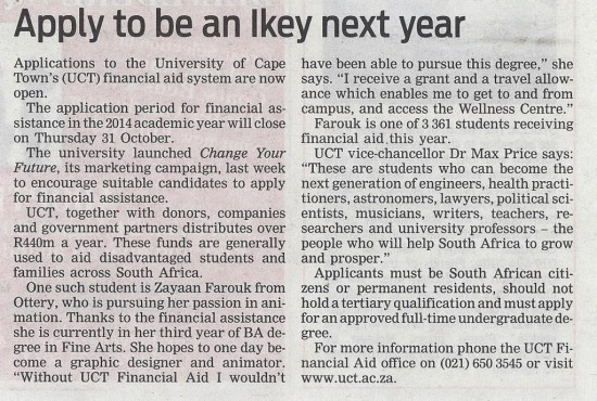 Apply to be an Ikey next year (People's Post, 20 August 2013)