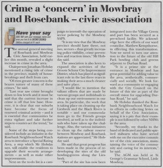 Crime a 'concern' in Mowbray and Rosebank - civic association (Tatler, 29 August 2013)
