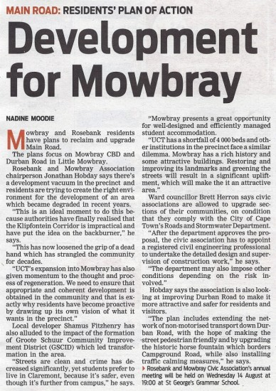 Development for Mowbray (People's Post, 6 August 2013)