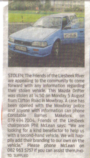 Friends of the Liesbeek River vehicle stolen ( People's Post, 20 August 2013)