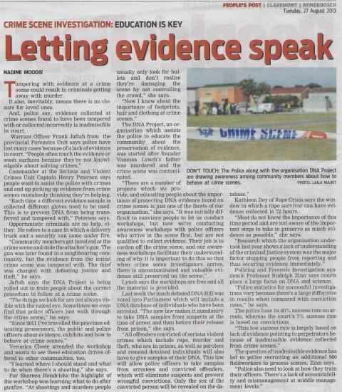 Letting evidence speak (People's Post, 27 August 2013)