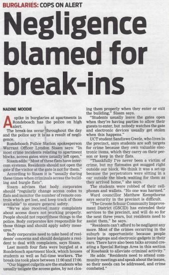 Negligence blamed for break-ins (People's Post, 6 August 2013)