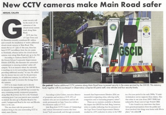 New CCTV cameras make Main Road safer (Monday Monthly, August 2013)