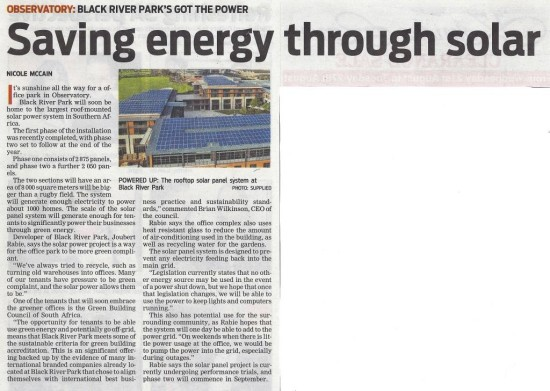 Saving energy through solar (People's Post, 20 August 2013)