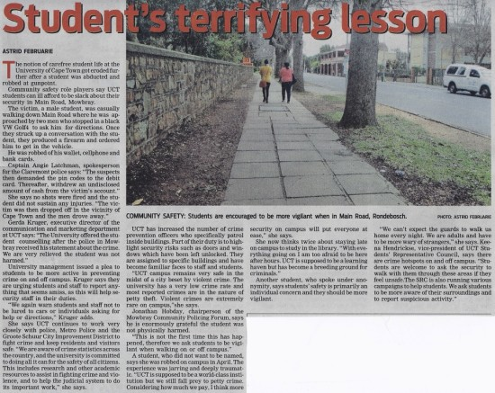 Student's terrifying lesson (People's Post, 27 August 2013)