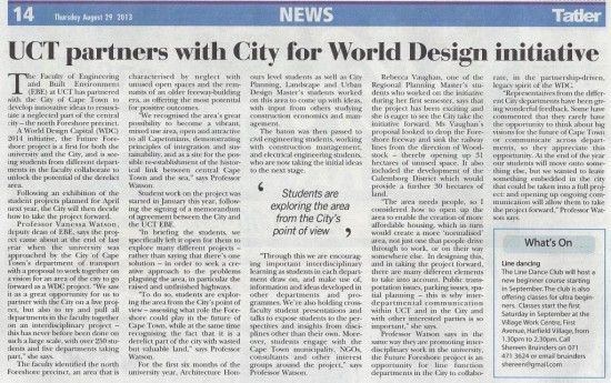 UCT partners with City for World Design initiative (Tatler, 29 August 2013)