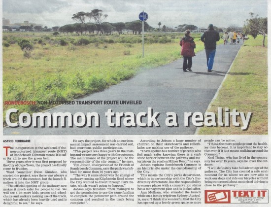 Common track a reality (People's Post, 3 September 2013)