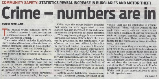 Crime - numbers are in (People's Post, 24 September 2013)