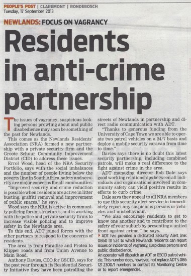 Residents in anti-crime partnership (People's Post, 17 September 2013)