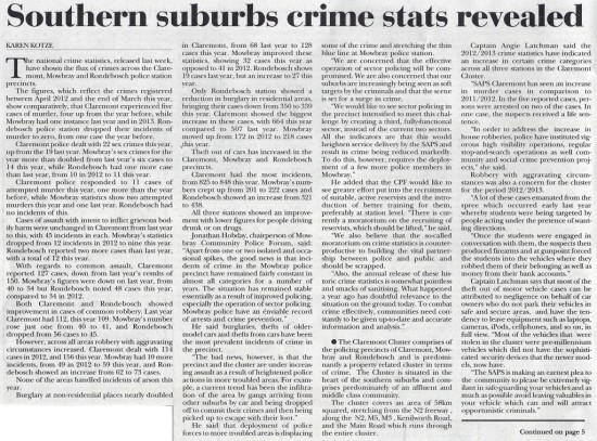 Southern suburbs crime stats revealed (Tatler, 26 September 2013)