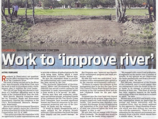 Work to 'improve river' (People's Post, 17 September 2013)