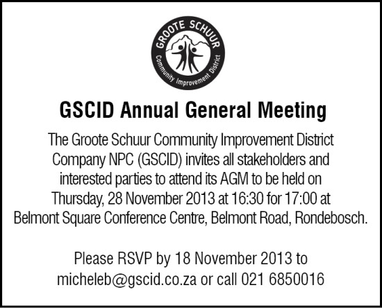 2013 GSCID AGM NOTICE