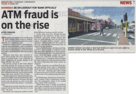 ATM fraud is on the rise (People's Post, 24 October 2013)