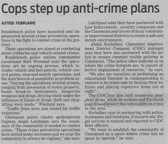 Cops step up anti-crime plans (People's Post, 3 October 2013)