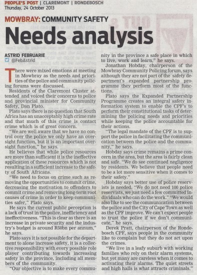 Needs analysis (People's Post, 24 October 2013)